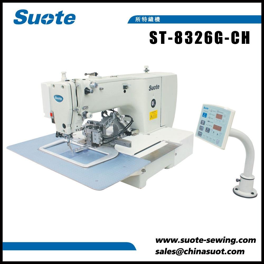 Máquina de costura eletrônica do teste padrão do ponto do logotipo